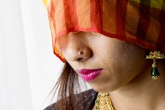 在农村印地安神色的印地安女性模型 免版税图库摄影