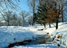 在农村房子晴朗的天气冬天视图的冬天农村风景有小河和冬天随风飘飞的雪的在前景 图库摄影