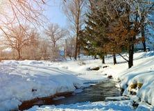 在农村房子晴朗的天气冬天视图的冬天风景有小河和冬天随风飘飞的雪的在前景 库存图片