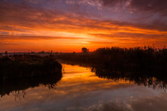 在农村河的惊人的紫色日出 免版税库存照片