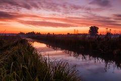 在农村河的惊人的紫色日出 库存图片