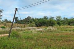 在农村的年迈的电岗位 库存图片