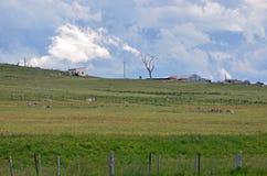 在农田的不祥的剧烈的暴风云 库存照片
