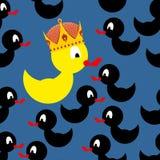 在冠的黄色橡胶鸭子 在一只黄色鸭子附近的黑鸭 在 免版税库存图片