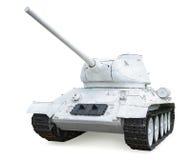 在冬天伪装的苏联中间坦克T-34-85 年修造1 免版税库存照片