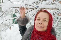 在冬天妇女之下的桦树 库存照片