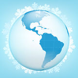 在冬天季节传染媒介的美国地球视图 图库摄影