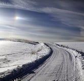 在冬天季节的农村路 库存图片