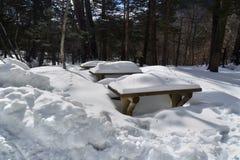 在冬天季节的厚实的积雪的室外桌 图库摄影