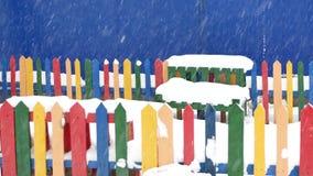 在冬天季节的大雪在孩子操场 影视素材