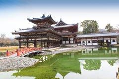 在冬天季节的平等院寺庙,日本 免版税库存照片