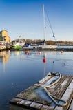 在冬天季节的海港 免版税库存图片