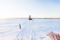 在冬天季节的灯塔 免版税库存图片