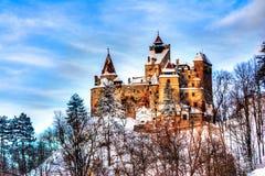 在冬天季节的麸皮城堡 库存照片