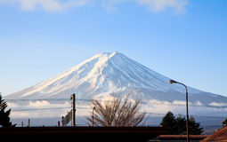 在冬天季节的Fujiyama登上 库存照片