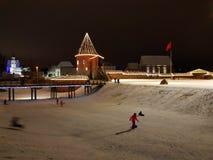 在冬天季节,立陶宛的考纳斯城堡 免版税库存照片