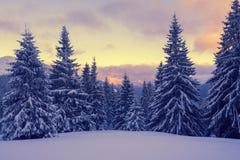 在冬天山的不可思议的日落 免版税库存照片