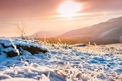 在冬天山的意想不到的日落 库存照片