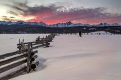 在冬天山的日落在爱达荷sceen 库存图片