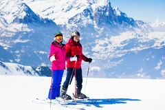 在冬天山的滑雪和雪乐趣 库存照片