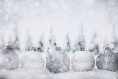 在冬天微型森林风景的圣诞节玻璃球与雪 免版税库存照片