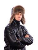 在冬天打扮的年轻人 免版税库存照片