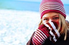 在冬天捆绑的女孩 库存照片