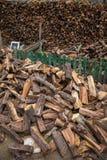 在冬天收获的木柴 库存照片