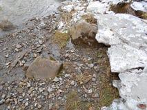 在冬天有一点熔化的河的河岸的冰 免版税库存照片