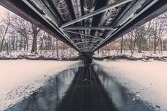 在冬天期间,在桥梁下 免版税库存照片