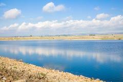 在冬天期间,水库在戈兰高地 库存照片