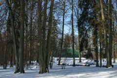 在冬天期间,露天舞台 图库摄影