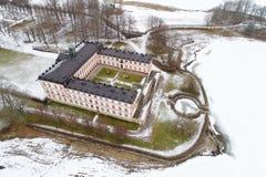 在冬天期间, Tullgarn宫殿鸟瞰图 库存图片
