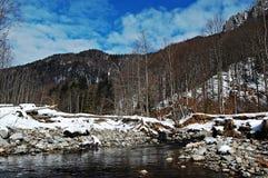 在冬天期间的河 免版税图库摄影