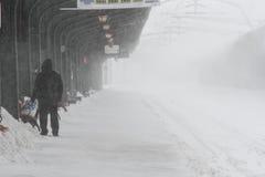 在冬天期间被延迟的火车 免版税图库摄影