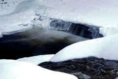在冬天期间,一个峡谷的河 免版税库存照片
