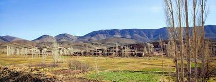 在冬天期间,农村巴巴里人村庄在摩洛哥 免版税库存图片