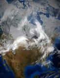 在冬天期间,北美和美国的卫星图象 库存照片