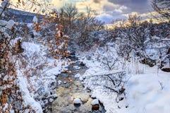 在冬天期间,小河 库存照片