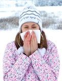 在冬天期间,流行性感冒 库存照片