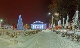 在冬天期间,美丽的装饰的街道 免版税库存照片
