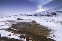 在冬天期间,金黄圈子在冰岛 免版税图库摄影