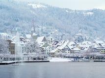 在冬天期间, Zug瑞士 免版税图库摄影