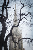 在冬天树枝后剪影的哥特式教会尖顶  库存照片