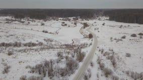 在冬天森林冬天风景的路 股票视频