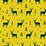 在冬天森林黄色无缝的传染媒介样式的鹿 库存例证