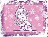 在冬天模式的逗人喜爱的婴孩例证 图库摄影