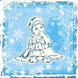 在冬天模式的逗人喜爱的婴孩例证 免版税库存图片