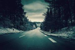 在冬天横向的路 免版税库存照片