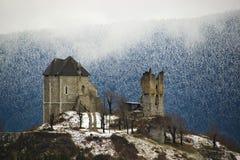 在冬天气氛的被破坏的城堡 库存图片